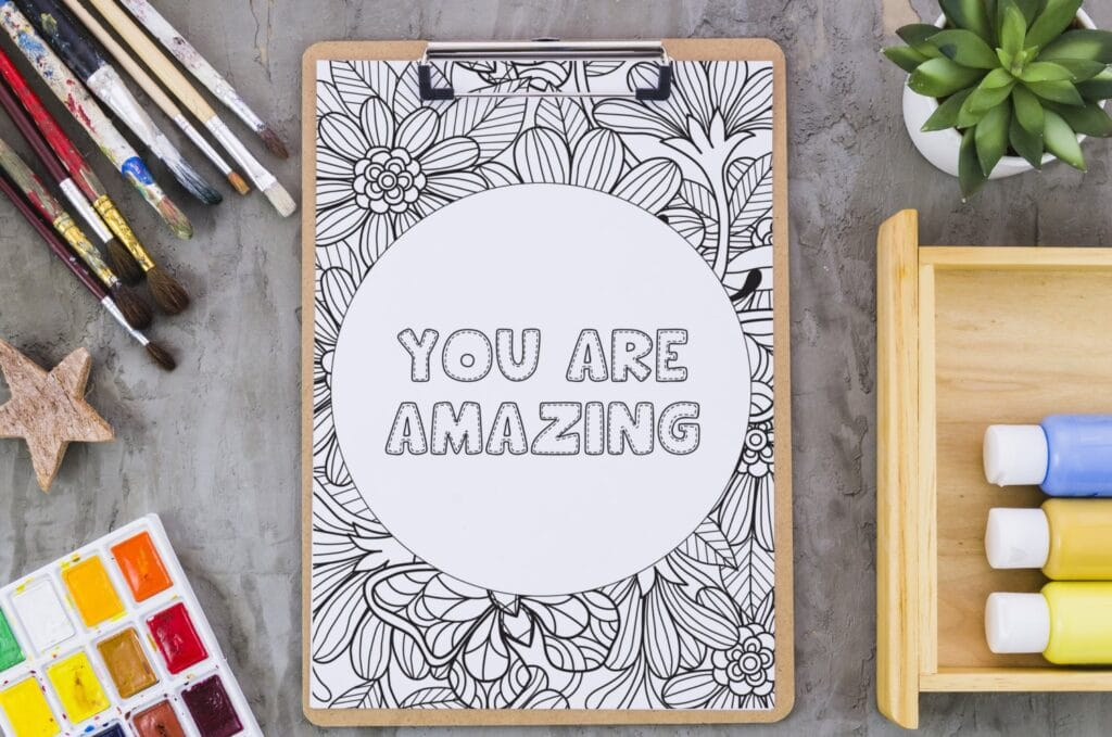 Inspirational Quote Coloring Page 46 Mockup 1 (1)