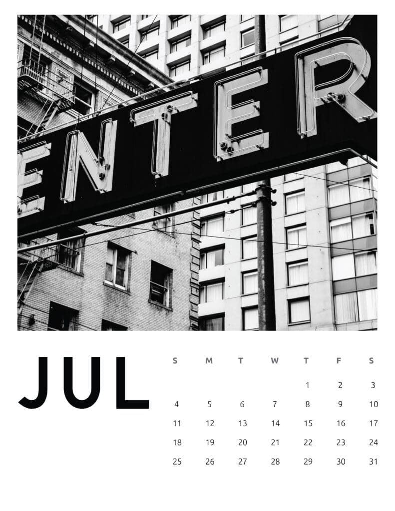 July 2021 Calendar Abstract Photography
