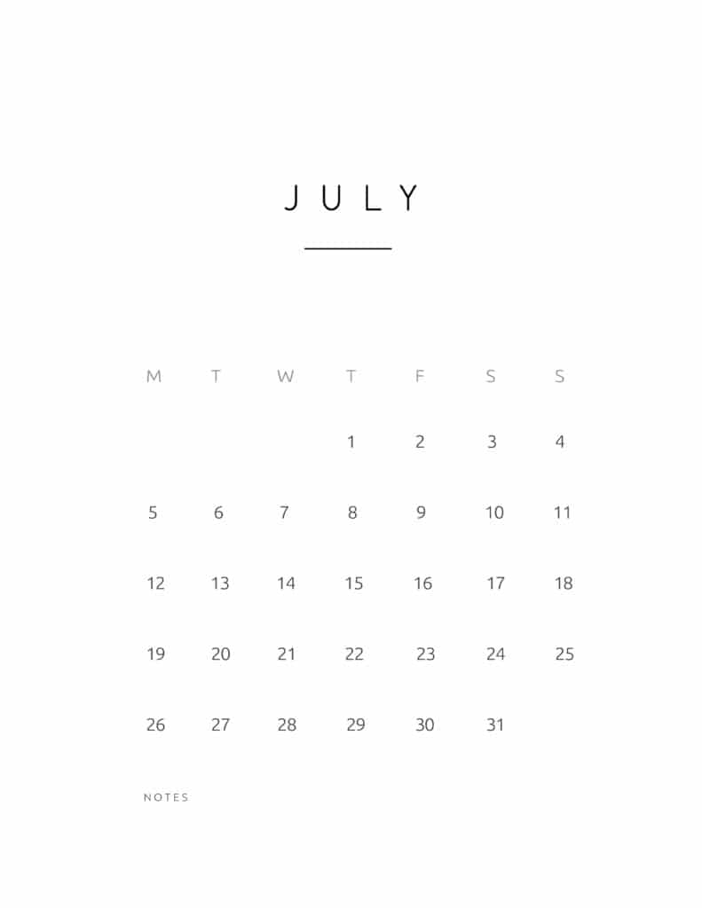 July 2021 Calendar Contemporary Style