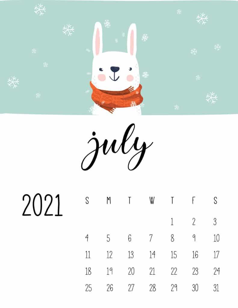 July 2021 Calendar Cute Winter Animals