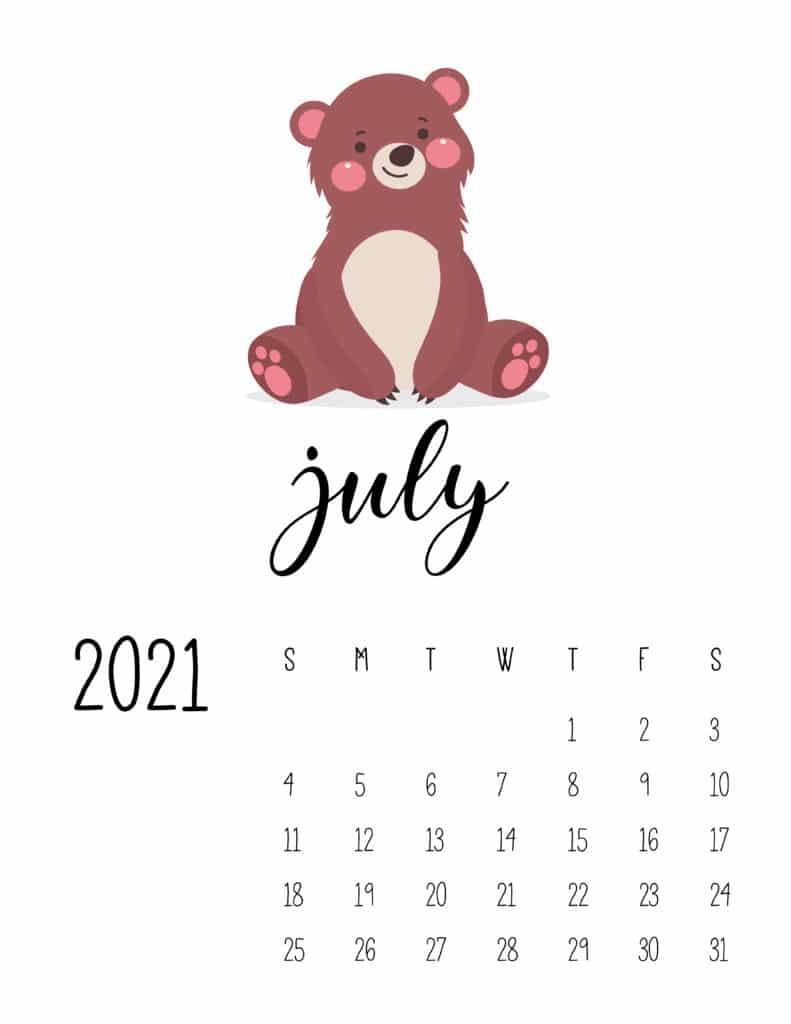 July 2021 Calendar Forest Woodland Animals