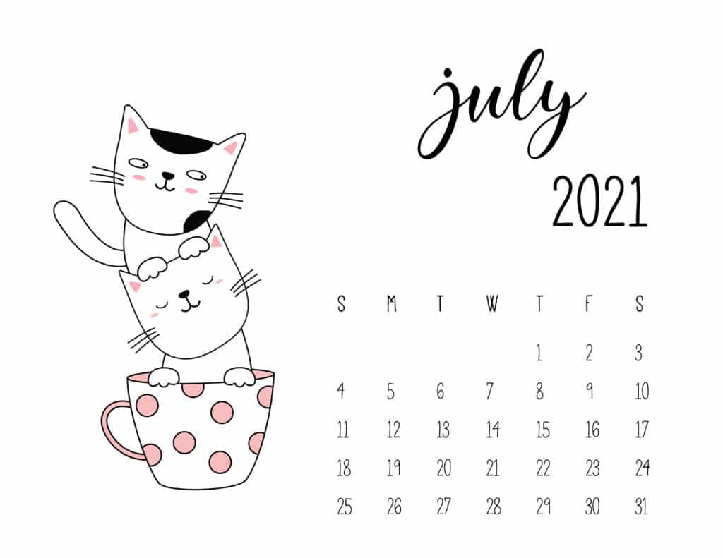 July 2021 Calendar Kittens in Tea Cups