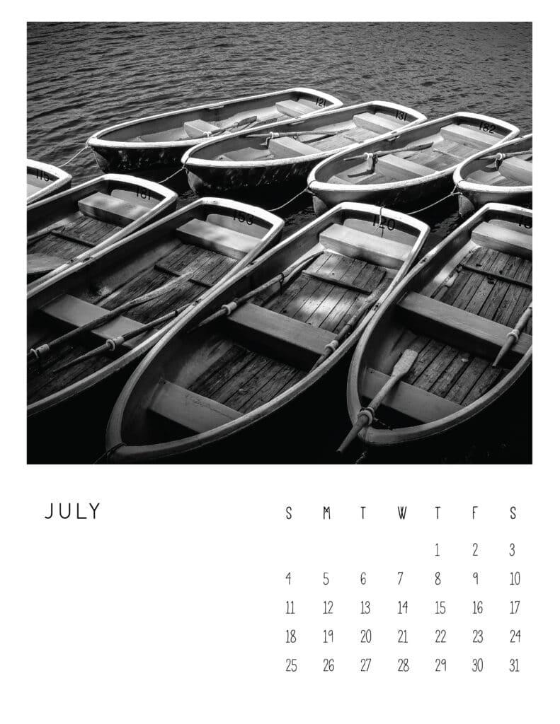 July 2021 Calendar Monochrome Photography