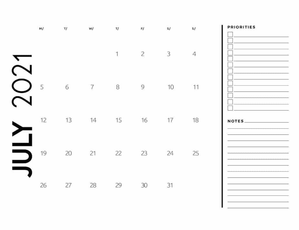 July 2021 Calendar Priorities And Notes