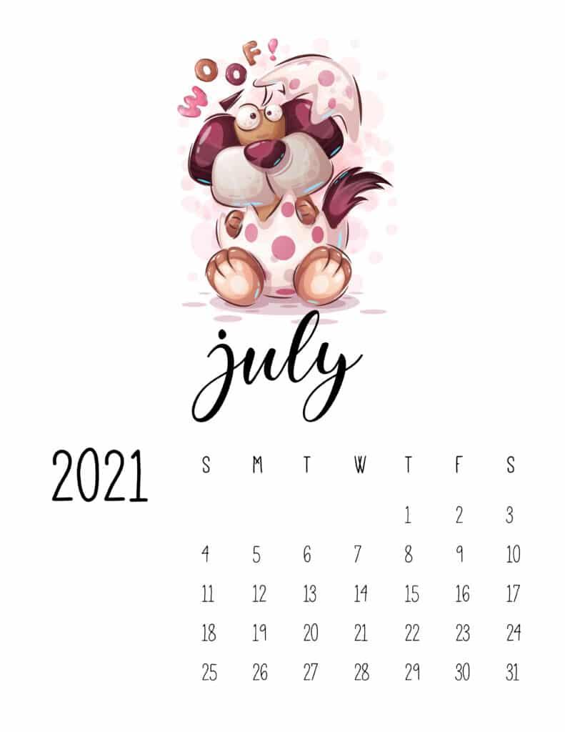 July 2021 Calendar with Cute Happy Animals
