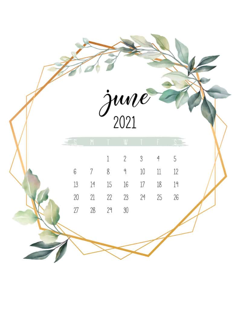 June 2021 Calendar Botanical Free Printable