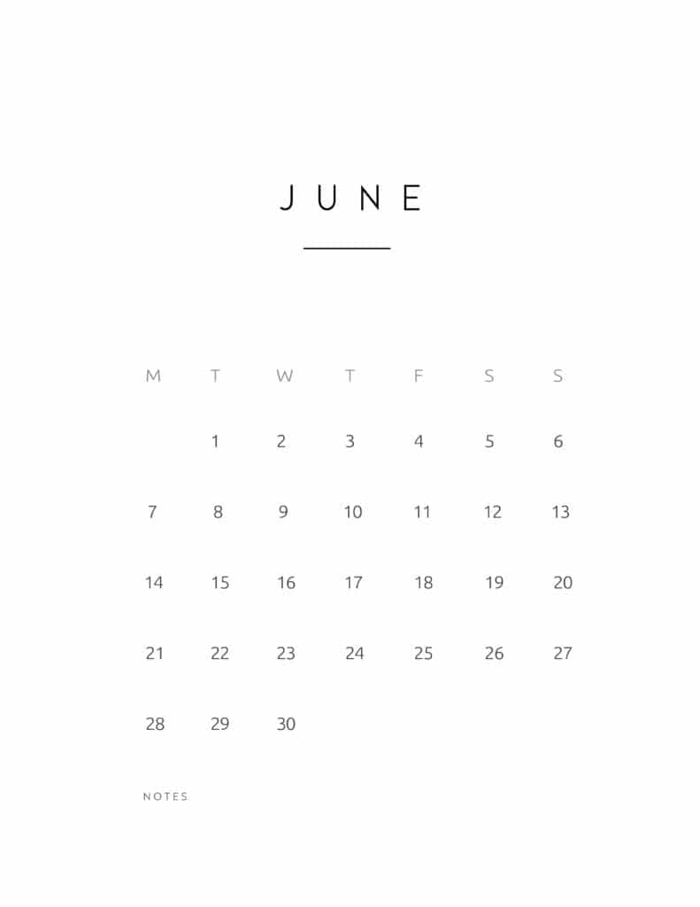 June 2021 Calendar Contemporary Style