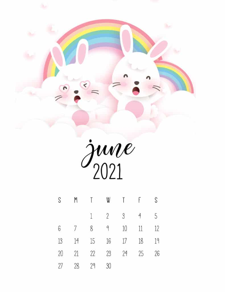 June 2021 Calendar Cute Rabbits And Rainbows
