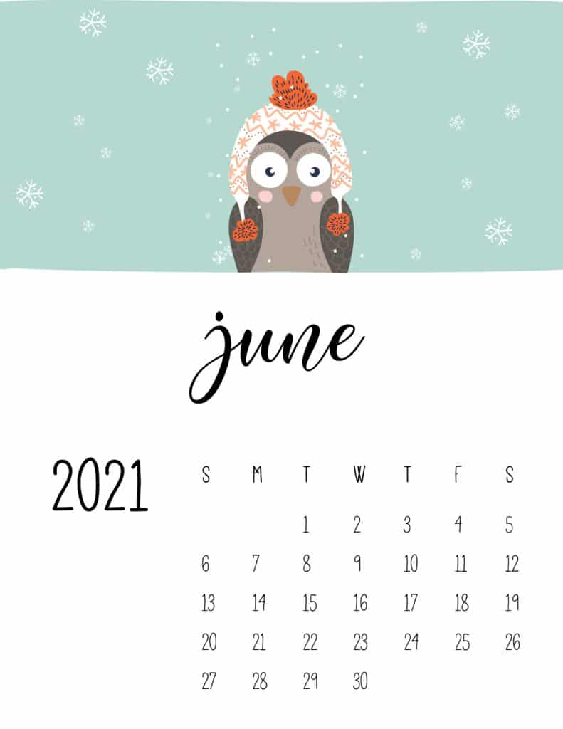 June 2021 Calendar Cute Winter Animals