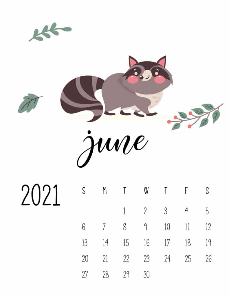 June 2021 Calendar Forest Woodland Animals