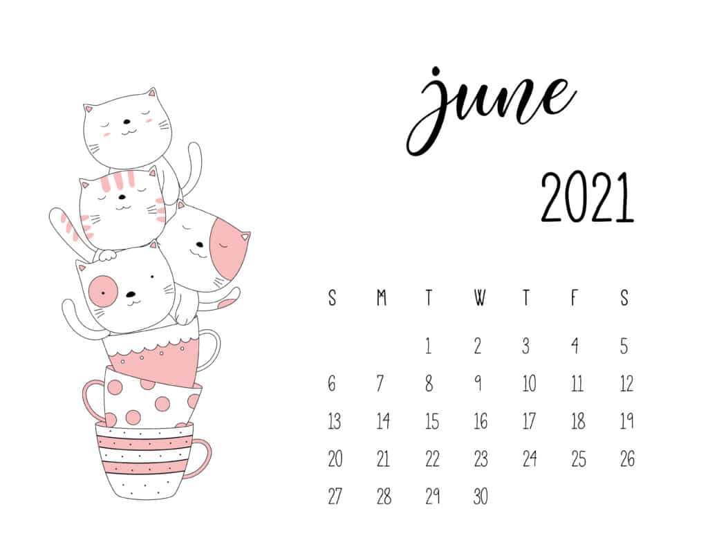 June 2021 Calendar Kittens in Tea Cups
