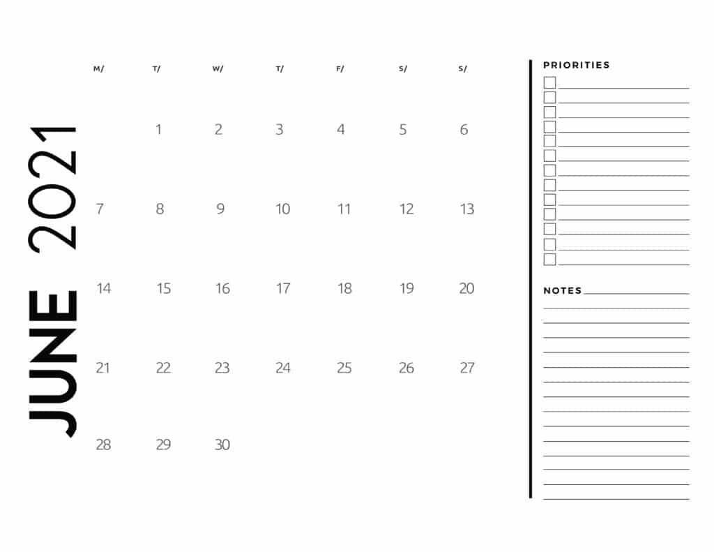 June 2021 Calendar Priorities And Notes