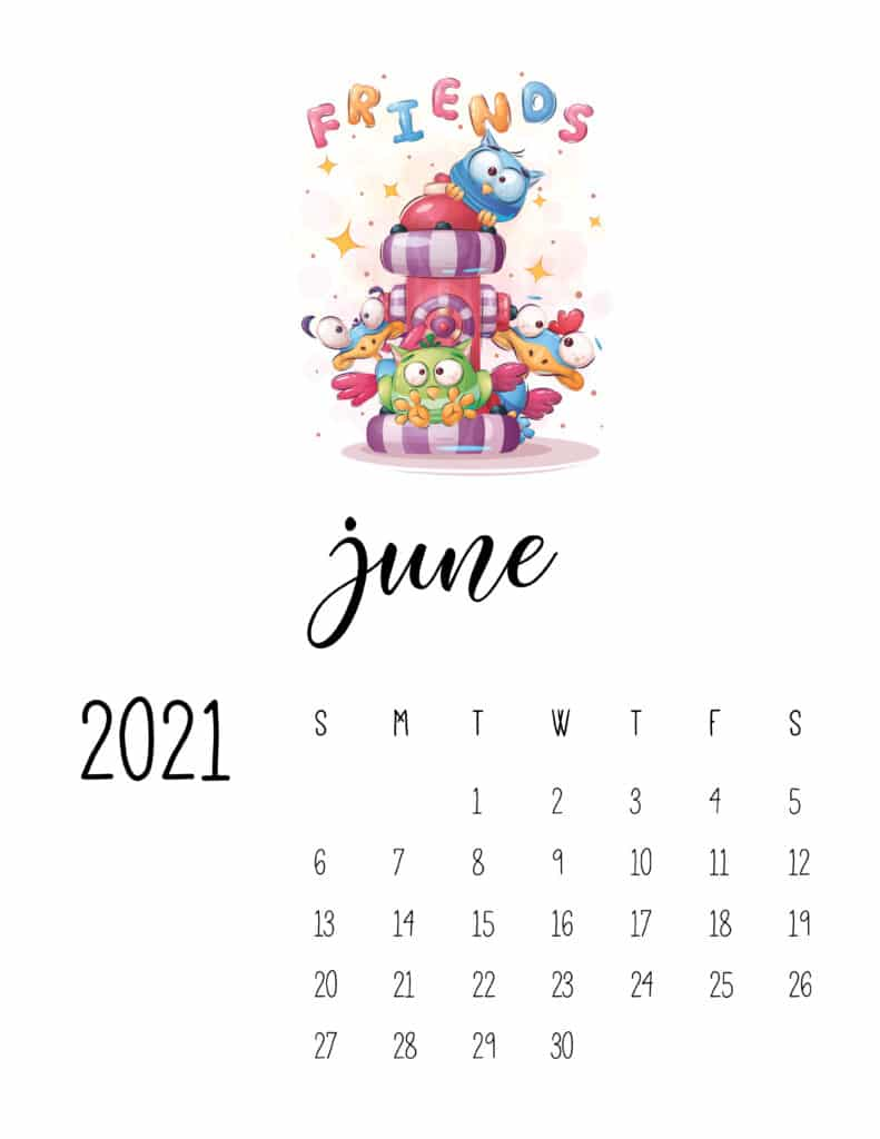 June 2021 Calendar with Cute Happy Animals