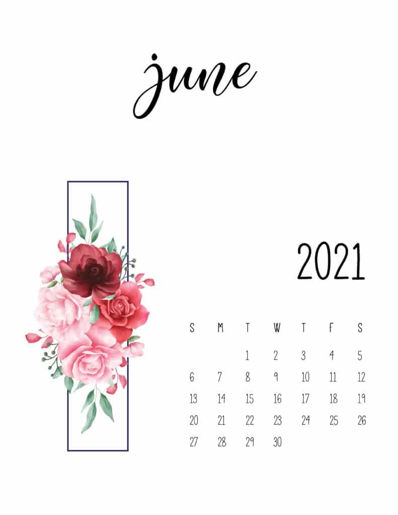 June 2021 Floral Calendar Free