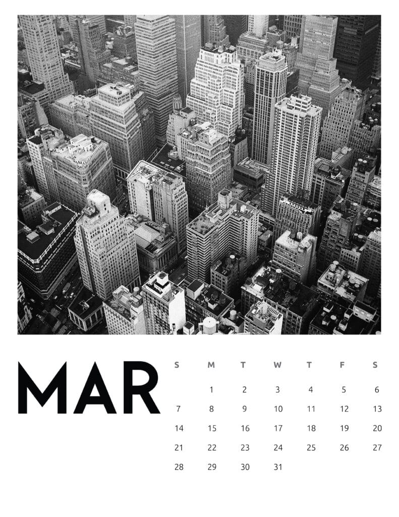 March 2021 Calendar Abstract Photography