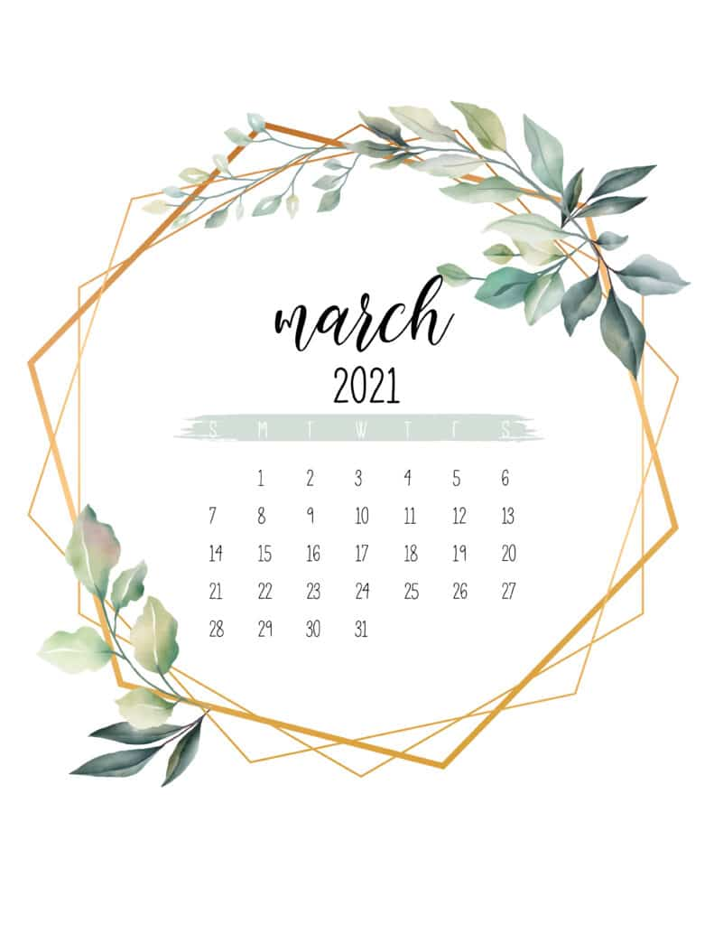 March 2021 Calendar Botanical Free Printable