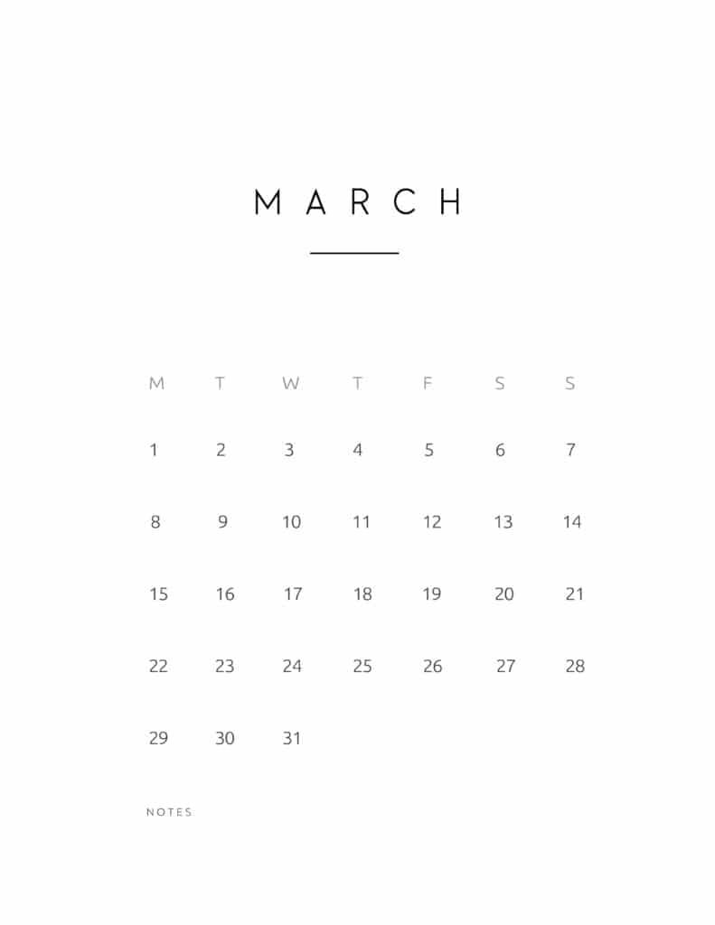 March 2021 Calendar Contemporary Style