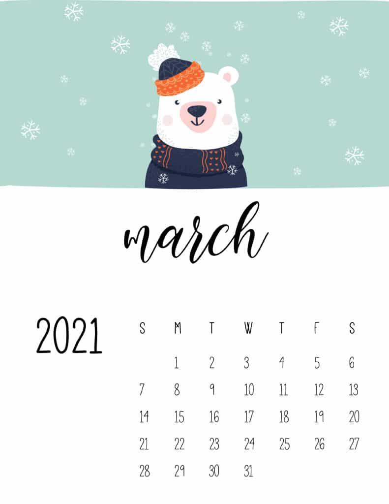 March 2021 Calendar Cute Winter Animals