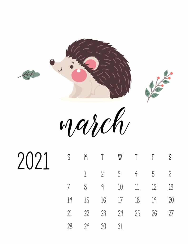 March 2021 Calendar Forest Woodland Animals