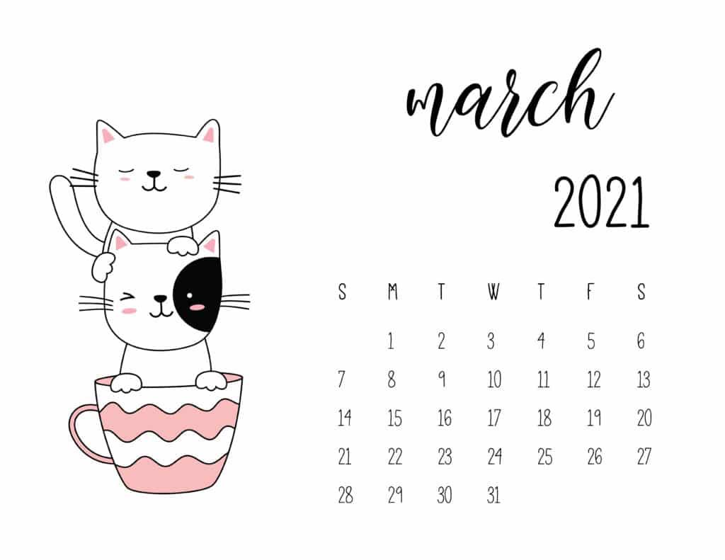 March 2021 Calendar Kittens in Tea Cups