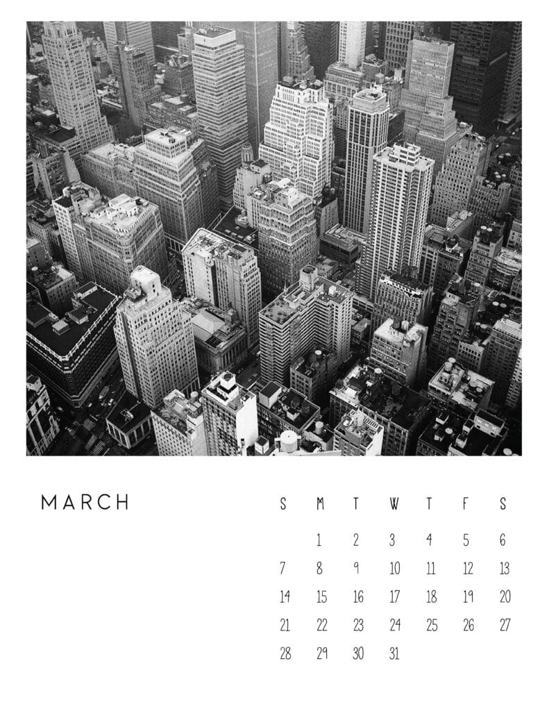 March 2021 Calendar Monochrome Photography