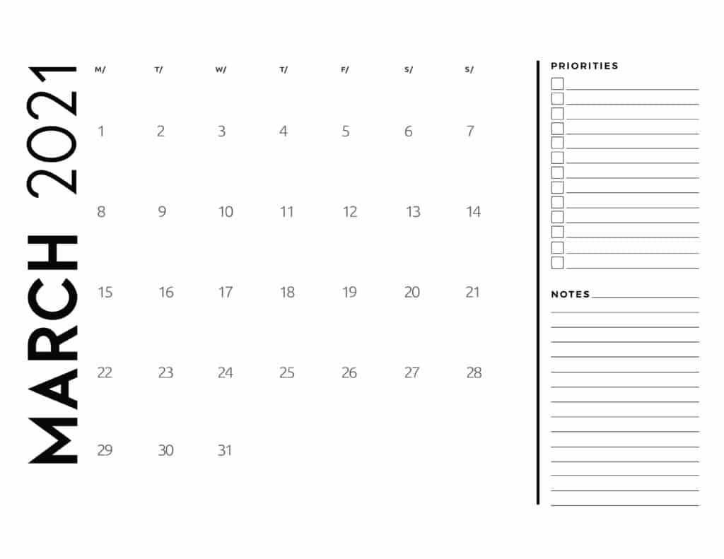 March 2021 Calendar Priorities And Notes