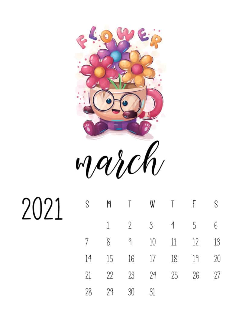 March 2021 Calendar with Cute Happy Animals