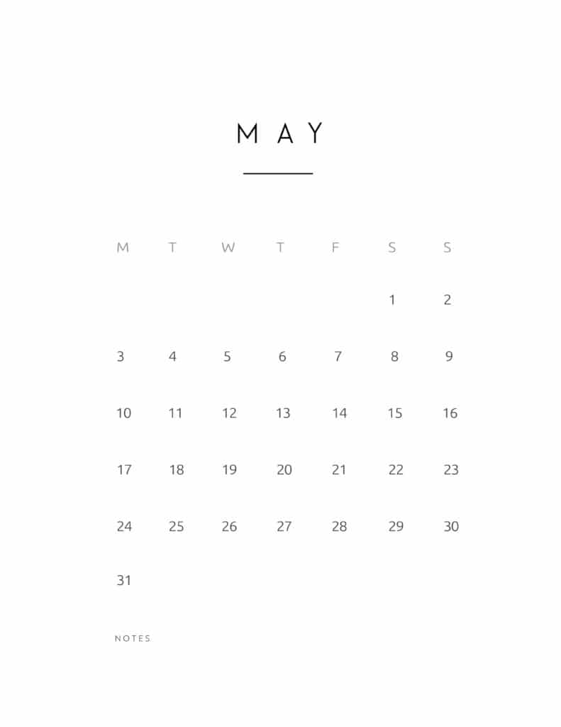 May 2021 Calendar Contemporary Style