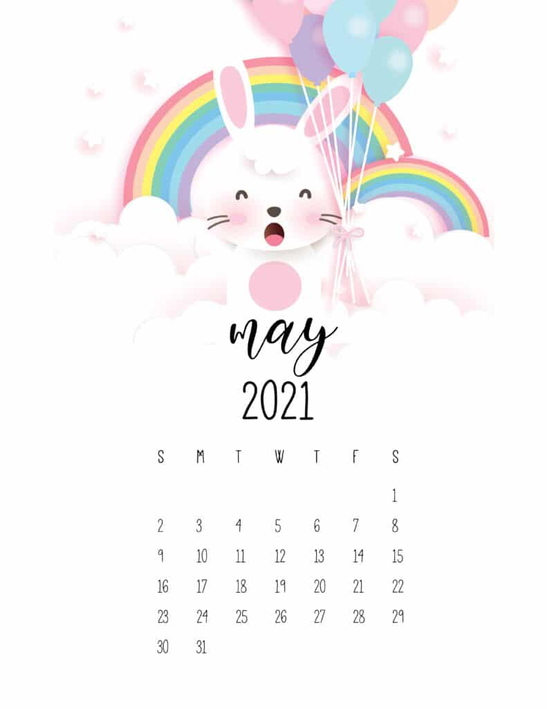 May 2021 Calendar Cute Rabbits And Rainbows