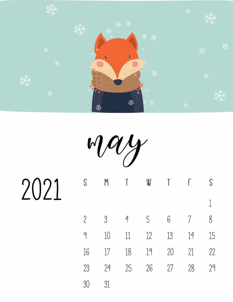 May 2021 Calendar Cute Winter Animals