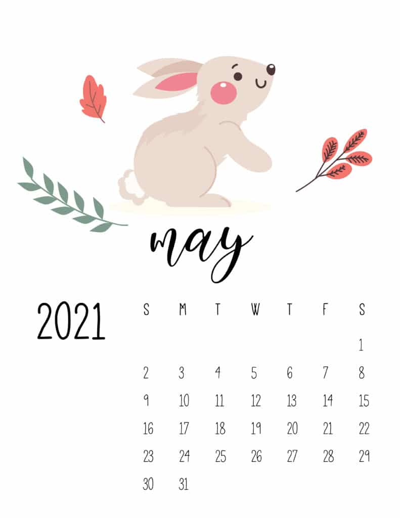 May 2021 Calendar Forest Woodland Animals