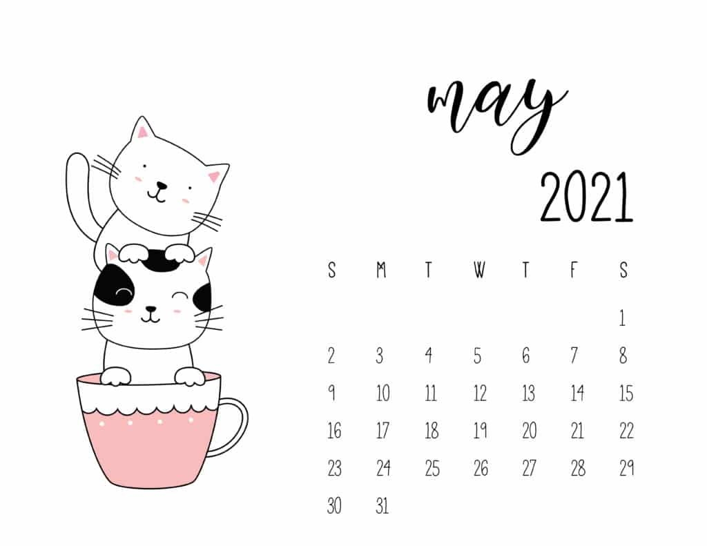 May 2021 Calendar Kittens in Tea Cups