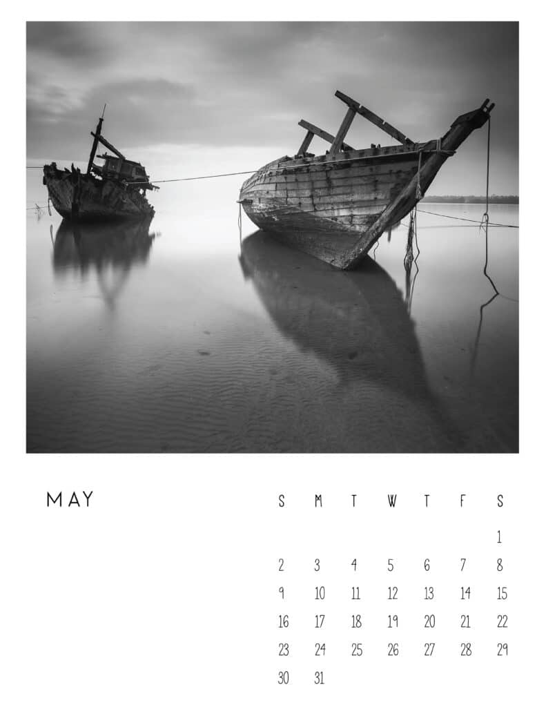 May 2021 Calendar Monochrome Photography