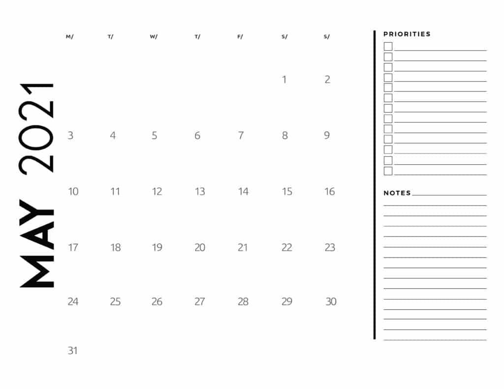 May 2021 Calendar Priorities And Notes