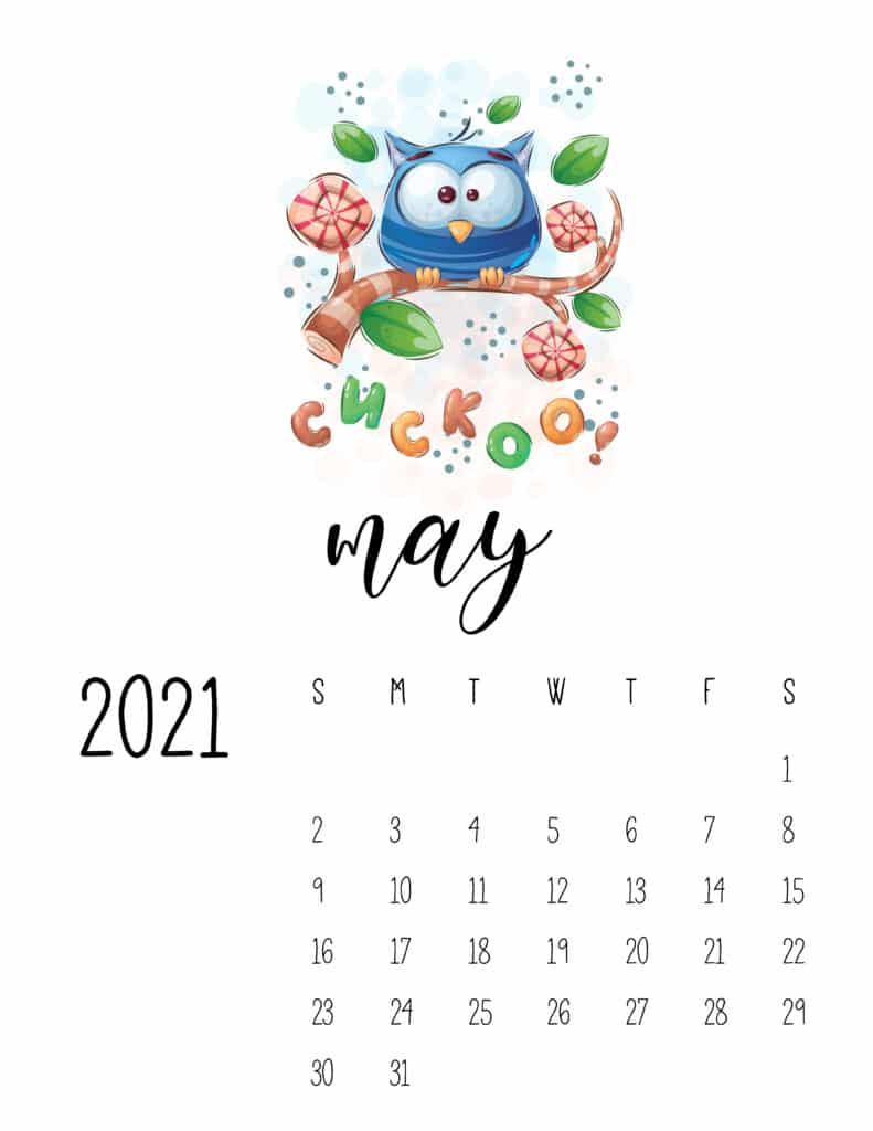 May 2021 Calendar with Cute Happy Animals