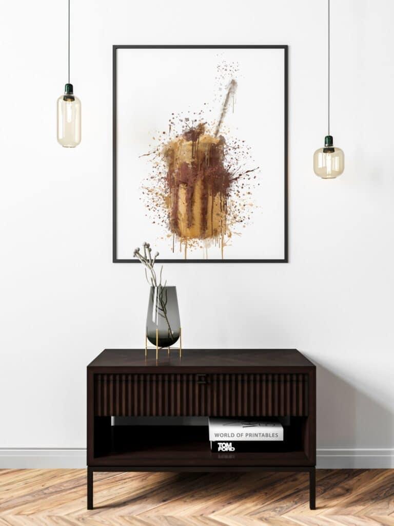 Chocolate Milkshake Abstract Splatter Printable Wall Art