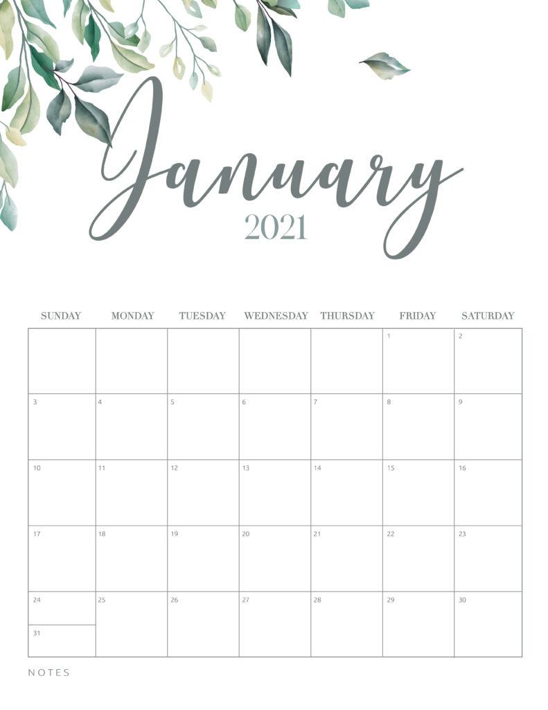 Minimal Botanical January 2021 Free Printable Calendar