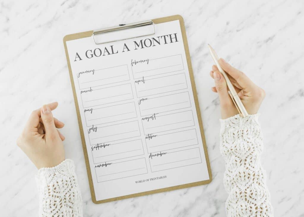 Minimal Monthly Goal Tracker Printable