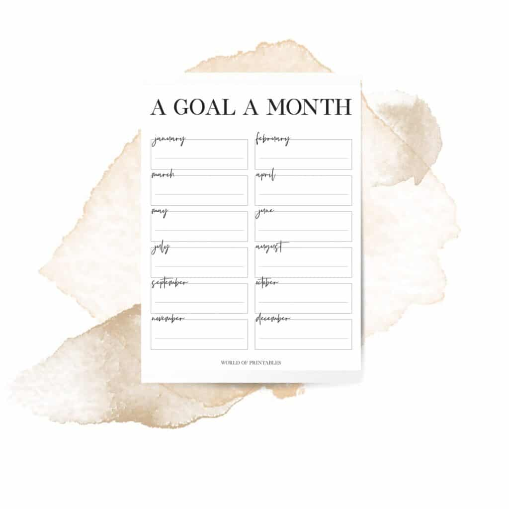 Minimal Monthly Goal Tracker Template