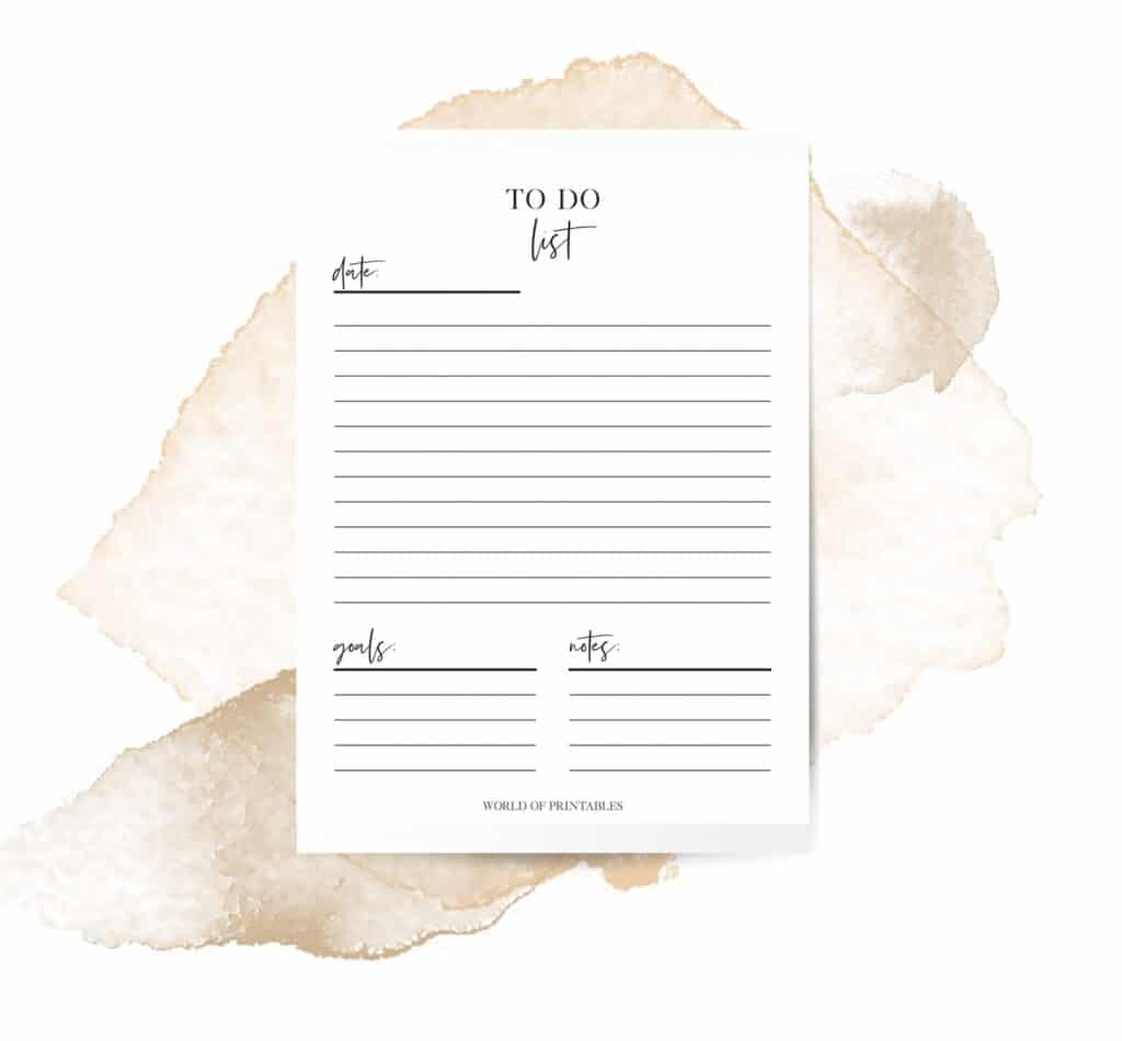 Minimal To Do List Printable Template
