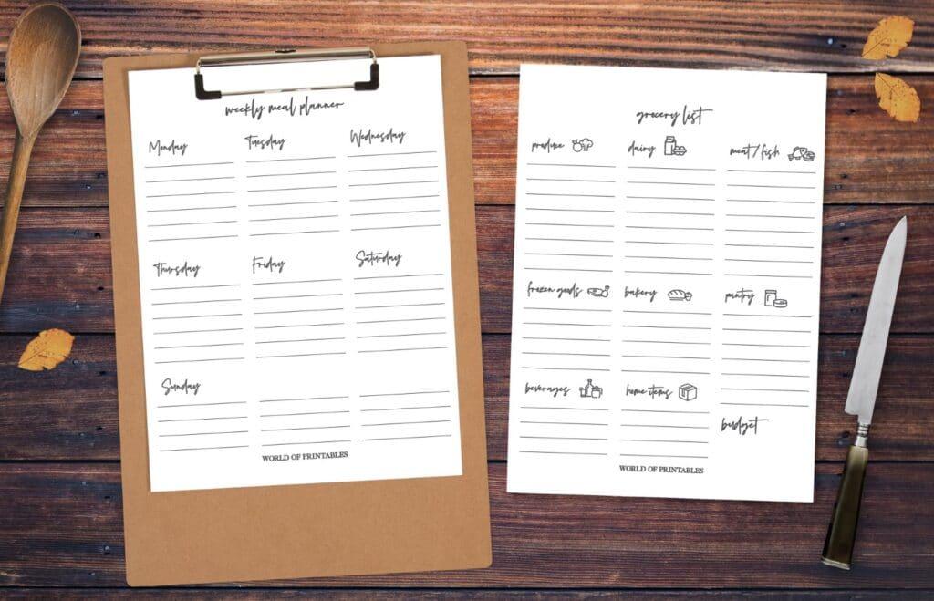 Free printable Minimalist Grocery List
