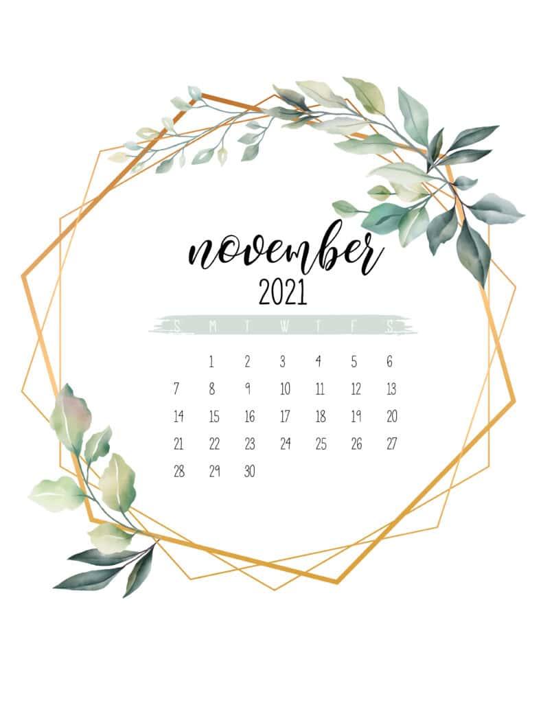 November 2021 Calendar Botanical Free Printable
