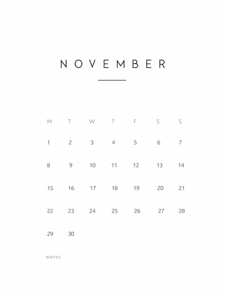 November 2021 Calendar Contemporary Style