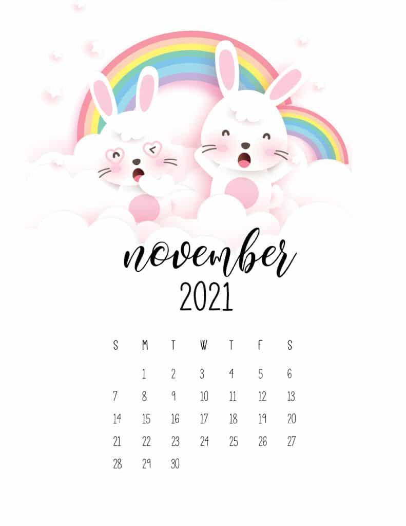 November 2021 Calendar Cute Rabbits And Rainbows