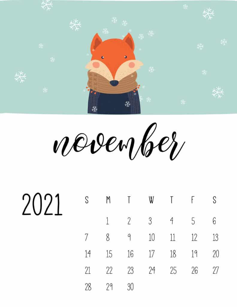 November 2021 Calendar Cute Winter Animals
