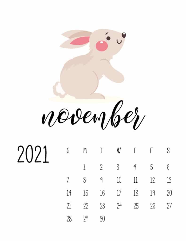 November 2021 Calendar Forest Woodland Animals