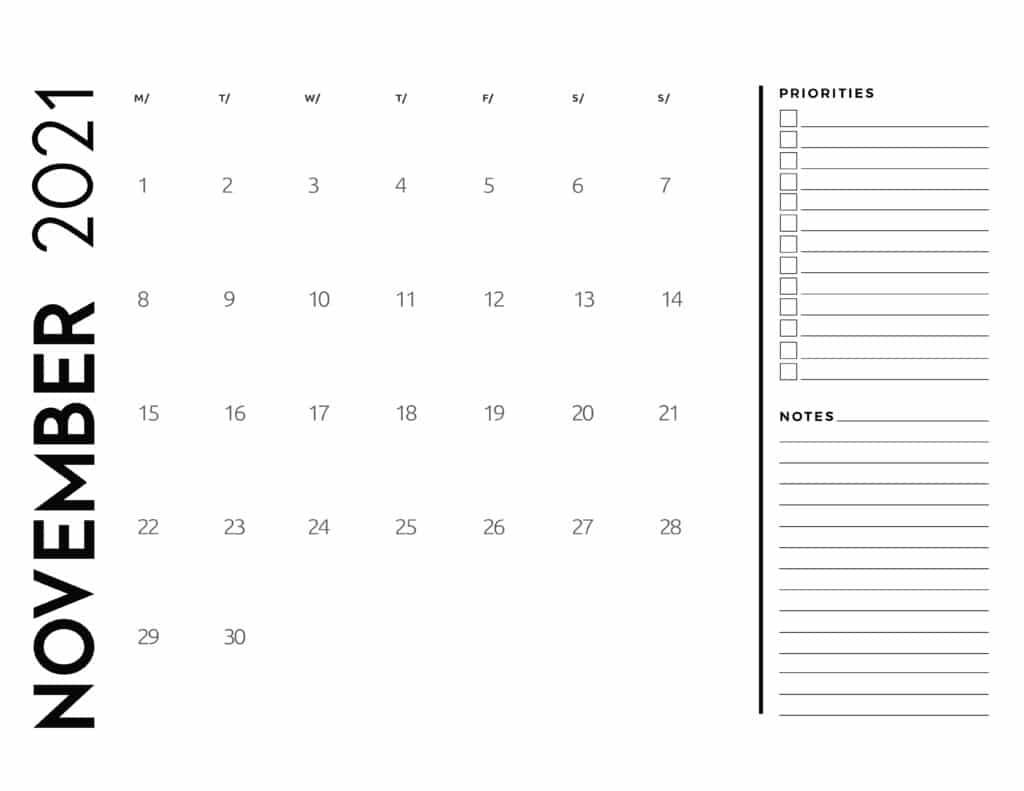 November 2021 Calendar Priorities And Notes