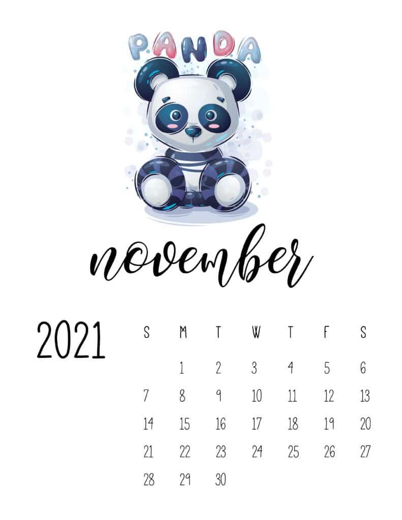 November 2021 Calendar with Cute Happy Animals