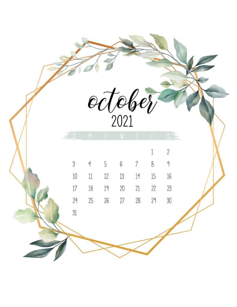 October 2021 Calendar Botanical Free Printable