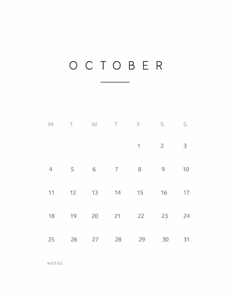 October 2021 Calendar Contemporary Style